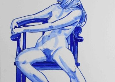White Woman on a Blue Chair